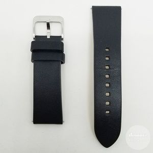 Black Genuine Leather 22mm Watch Straps S